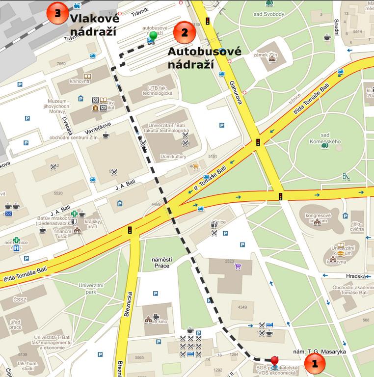 mapa Zlin